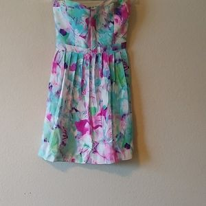 Parker water colored lily strapless dress